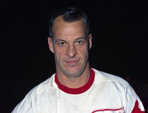 This is a Nov. 1967, file photo showing Detroit Red Wings hockey player Gordie Howe.