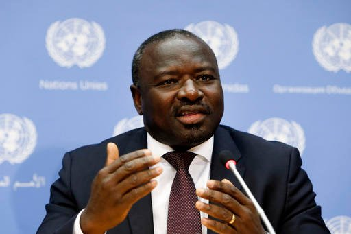 """In this Sept. 27, 2013 file photo, the Comprehensive Nuclear Test Ban Treaty, CTBTO, Executive Secretary Lassina Zerbo speaks during a news conference during the 68th session of the United Nations General Assembly at U.N. headquarters. """"The U.S. needs to"""
