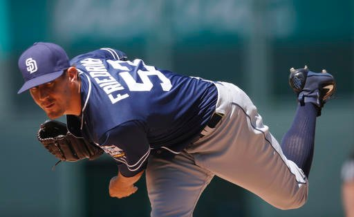 wbbSan Diego Padres starting pitcher Christian Friedrich delivers to Colorado Rockies' Carlos Gonzalez in the first inning of a baseball game Sunday, June 12, 2016, in Denver. (AP Photo/David Zalubowski)