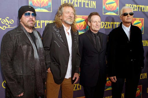 "This Oct. 9, 2012 file photo shows Led Zeppelin members, from left, Jason Bonham, Robert Plant, Jimmy Page and John Paul Jones at the ""Led Zeppelin: Celebration Day"" premiere in New York."