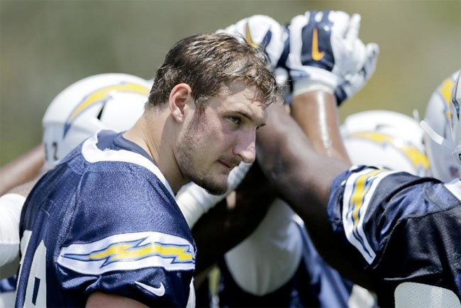 San Diego Chargers rookie defensive end Joey Bosa touches hands with others on the Chargers defense during an NFL football practice Monday, June 6, 2016, in San Diego.