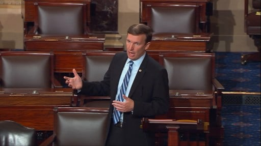 This frame grab provided by Senate Television shows Sen. Chris Murphy, D-Conn. speaking on the floor of the Senate on Capitol Hill in Washington, Wednesday, June 15, 2016, where he launched a filibuster demanding a vote on gun control measures.