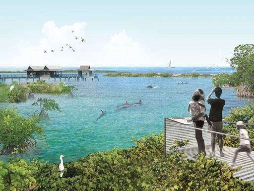 This artist rendering provided by Studio Gang, shows the proposed seaside dolphin sanctuary by the National Aquarium in Baltimore. The aquarium announced Tuesday, June 14, 2016, plans to retire multiple dolphins into a seaside sanctuary by the end of 2020