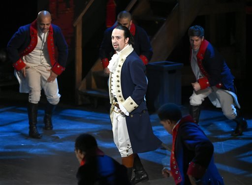 "In this June 12, 2016 file photo, Lin-Manuel Miranda and the cast of ""Hamilton"" perform at the Tony Awards in New York."