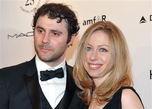 In this Feb. 9, 2011 file photo, Chelsea Clinton and husband Marc Mezvinsky attend amfAR's annual New York Gala at Cipriani Wall Street in New York.