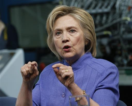 In this photo taken June 15, 2016, Democratic Presidential candidate Hillary Clinton speaks in Hampton, Va.