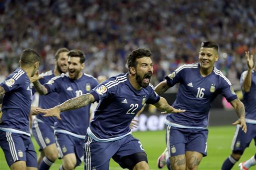 (AP Photo/David J. Phillip). Argentina forward Ezequiel Lavezzi (22) celebrates his goal against the United States during a Copa America Centenario semifinal soccer match Tuesday, June 21, 2016, in Houston.