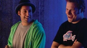 "In this film publicity image released by Universal Pictures, Adam Sandler, left, and Seth Rogen are shown in a scene from, ""Funny People."" (AP Photo/Universal Pictures, Tracy Bennett)"