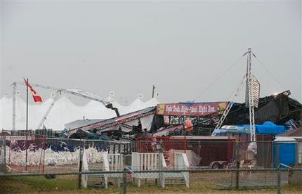 The main stage at the site of the Big Valley Jamboree in Camrose, Alberta Canada on Saturday, August 1, 2009. A vicious storm ripped through an outdoor country music festival in central Alberta around suppertime on Saturday, toppling the concert stage and