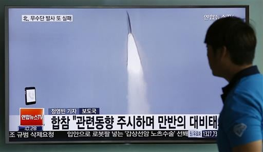 In this May 31, 2016, file photo, a man watches a TV news program reporting about a missile launch of North Korea, at the Seoul Train Station in Seoul, South Korea. In a remarkable show of persistence, North Korea on Wednesday, June 22, 2016, fired two su