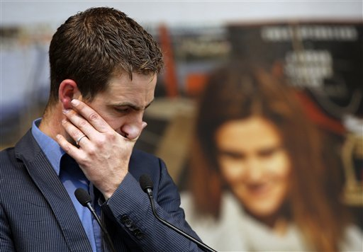 Brendan Cox, widower of murdered British MP Jo Cox, makes a speech during a gathering to celebrate her life, in Trafalgar Square, London, Wednesday, June 22, 2016. Jo Cox, a 41-year-old Labour lawmaker who had championed the cause of Syrian refugees, was