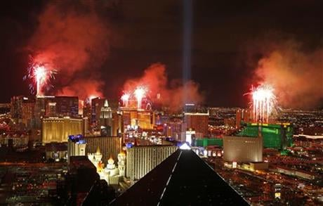 County officials have signed off on a ban on big backpacks, purses and coolers on the Las Vegas Strip during the tourist magnet's biggest events, including New Year's Eve. (AP Photo/John Locher, File)