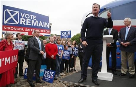 On Thursday Britain goes to the polls in a referendum on whether to remain or leave the EU . (Geoff Caddick/PA via AP)
