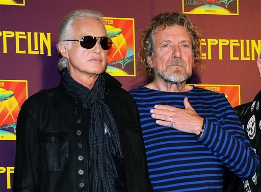 In this Oct. 9, 2012 file photo, Led Zeppelin guitarist Jimmy Page, left, and singer Robert Plant appear at a press conference.