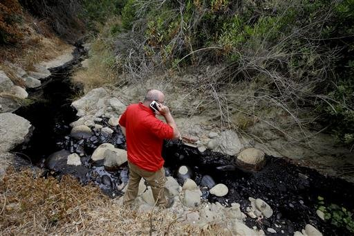 Cal State Channel Islands professor Sean Anderson talks on the phone as he studies oil from a spill Thursday, June 23, 2016, in Ventura, Calif. Thousands of gallons of crude oil spilled Thursday from a pipeline and flowed down an arroyo in Southern Califo