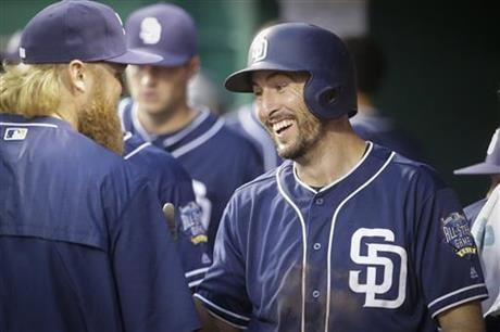 San Diego Padres' Adam Rosales, right, smiles in the dugout after hitting a solo home run off Cincinnati Reds starting pitcher Raisel Iglesias during the sixth inning of a baseball game, Friday, June 24, 2016, in Cincinnati. (AP Photo/John Minchillo)