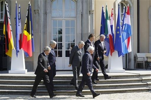 The Foreign Ministers from EU's founding six Paolo Gentiloni from Italy, Didier Reynders from Belgium, Jean-Marc Ayrault from France, Bert Koenders from the Netherlands, Frank-Walter Steinmeier from Germany and and Jean Asselborn from Luxemburg.