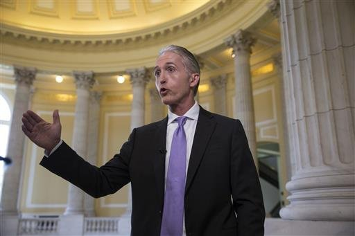House Benghazi Committee Chairman Rep. Trey Gowdy, R-S.C., gestures during a TV news interview with MSNBC, on Capitol Hill in Washington, Tuesday, June 28, 2016.