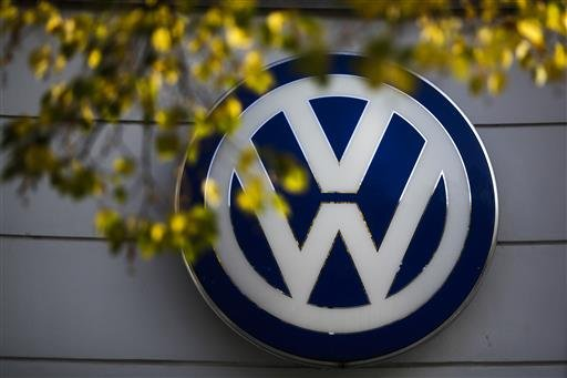 In this Oct. 5, 2015, file photo, the VW sign of Germany's Volkswagen car company is displayed at the building of a company's retailer in Berlin.