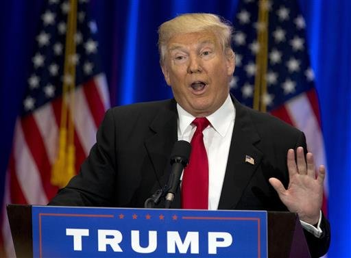 In this June 22, 2016, file photo, Republican presidential candidate Donald Trump speaks in New York.