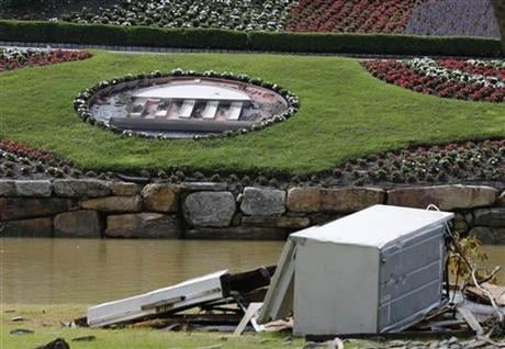 Flooding from heavy rains last week damaged the course canceling the PGA Tour event scheduled for next week and closing the Hotel. (AP Photo/Steve Helber)