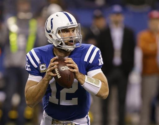 In this Nov. 8, 2015, file photo, Indianapolis Colts' Andrew Luck (12) looks to throw during the second half of an NFL football game against the Denver Broncos, in Indianapolis.