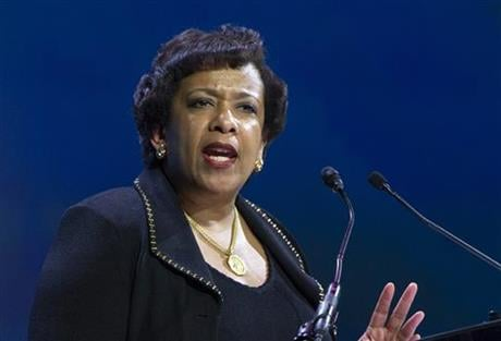Attorney General Loretta Lynch speaks in Washington. Former President Bill Clinton spoke with Lynch during an impromptu meeting in Phoenix, but Lynch says the discussion did not involve the investigation into Hillary Clinton's email use as secretary of st