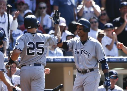 New York Yankees' Mark Teixeira is congratulated by Starlin Castro after hitting his 400th career home run against the San Diego Padres in the eighth inning of a baseball game, Sunday, July 3, 2016, in San Diego. (AP Photo/Lenny Ignelzi)