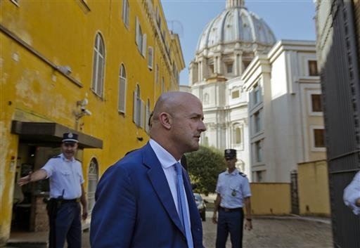 Italian journalist Gianluigi Nuzzi leaves the Vatican on Thursday, July 7, 2016, after a Vatican court declared it had no jurisdiction to prosecute him and and his colleague Emiliano Fittipaldi .