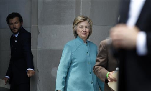 Democratic presidential candidate Hillary Clinton arrives to speak on the Boardwalk in Atlantic City, N.J., Wednesday, July 6, 2016. (AP Photo/Mel Evans) (AP Photo/Mel Evans)
