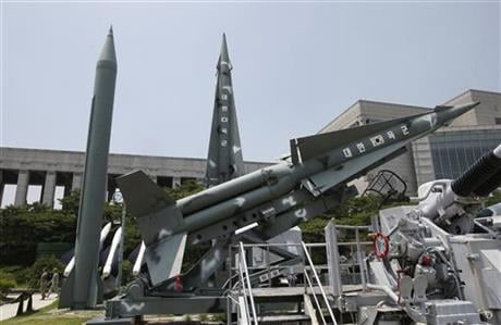 "Korean letters on the mock South missiles read: ""Republic of Korea Army."" (AP Photo/Lee Jin-man)"