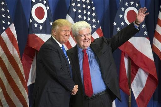 Republican presidential candidate Donald Trump, left, and former House Speaker Newt Gingrich, right.