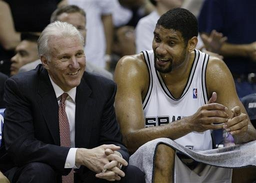 April 5, 2007, file photo, San Antonio Spurs forward Tim Duncan (21) talks with Spurs coach Gregg Popovich, left, during the fourth quarter of their NBA basketball game against the Suns. (AP Photo/Eric Gay, File)