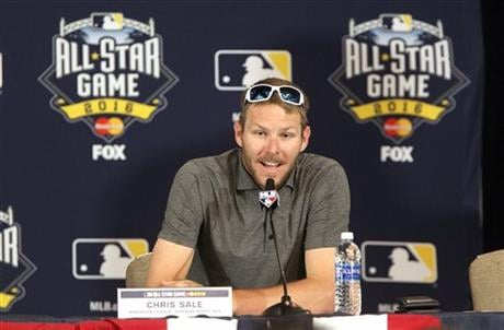 American League All-Star starting pitcher Chris Sale, of the Chicago White Sox, answers questions at a news conference at the Manchester Grand Hyatt San Diego, Monday, July 11, 2016. (John Gastaldo/The San Diego Union-Tribune via AP)