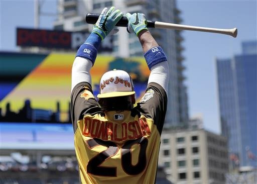 American League's Josh Donaldson, of the Toronto Blue Jays, stretches during batting practice at the MLB baseball All-Star game, Tuesday, July 12, 2016, in San Diego. (AP Photo/Gregory Bull)