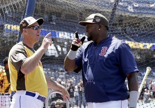 American League's David Ortiz, of the Boston Red Sox, right, talks with hitting coach Dale Sveum, of the Kansas City Royals, during batting practice before the MLB baseball All-Star game, Tuesday, July 12, 2016, in San Diego. (AP Photo/Gregory Bull)