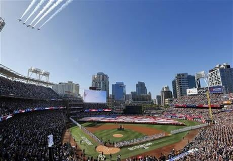 Jets fly above Petco Park during the national anthem prior to the MLB baseball All-Star Game, Tuesday, July 12, 2016, in San Diego. (AP Photo/Matt York)