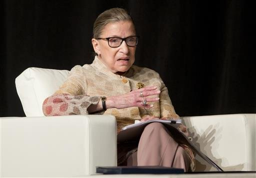 In this May 26, 2016 file photo, Supreme Court Justice Ruth Bader Ginsburg takes part in a conference in Saratoga Springs, N.Y.