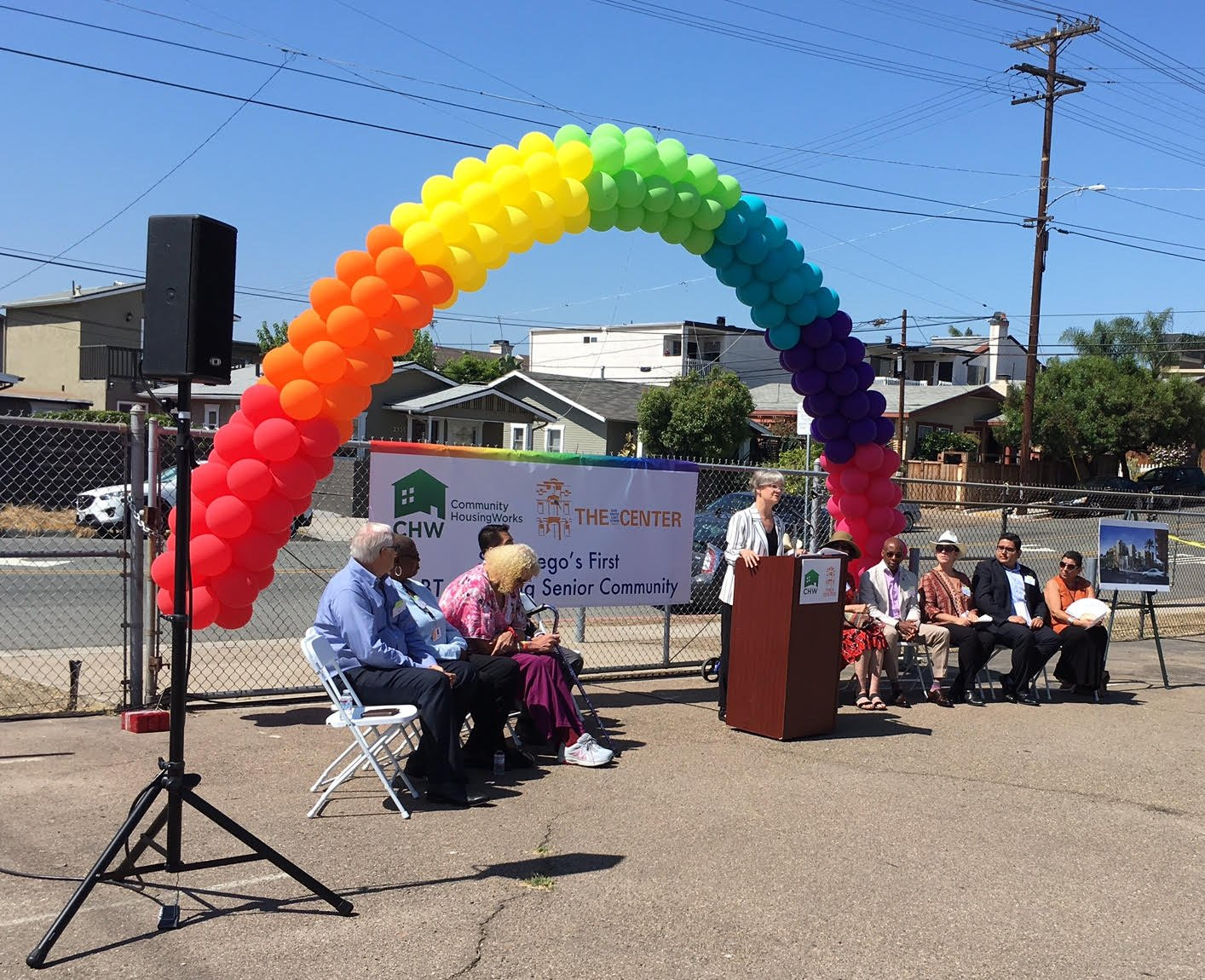Sue Reynolds, President and CEO of Community HousingWorks, at Wednesday's groundbreaking ceremony.