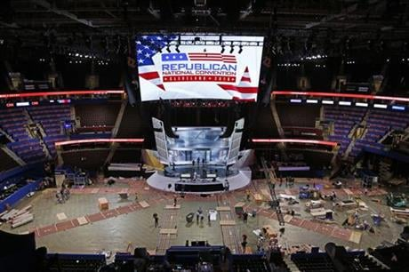 The Quicken Loans Arena in downtown Cleveland, Ohio, is prepared for the upcoming Republican National Convention Wednesday, July 13, 2016. (AP Photo/Gene J. Puskar)