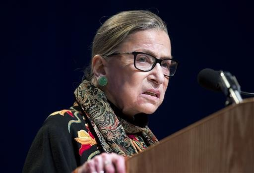 In this Jan. 28, 2016 file photo, Supreme Court Justice Ruth Bader Ginsburg speaks at Brandeis University in Waltham, Mass.