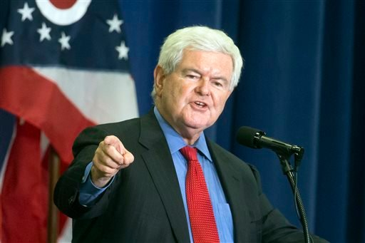 In this July 6, 2016 file photo, former House Speaker Newt Gingrich speaks before introducing Republican presidential candidate Donald Trump during a campaign rally in Cincinnati.