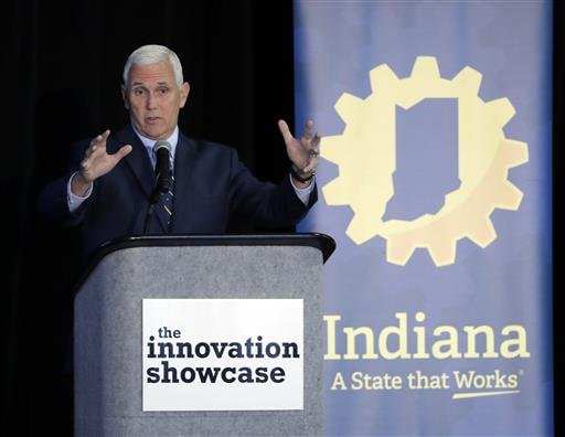 Indiana Gov. Mike Pence speaks during the Innovation Showcase, Thursday, July 14, 2016, in Indianapolis.