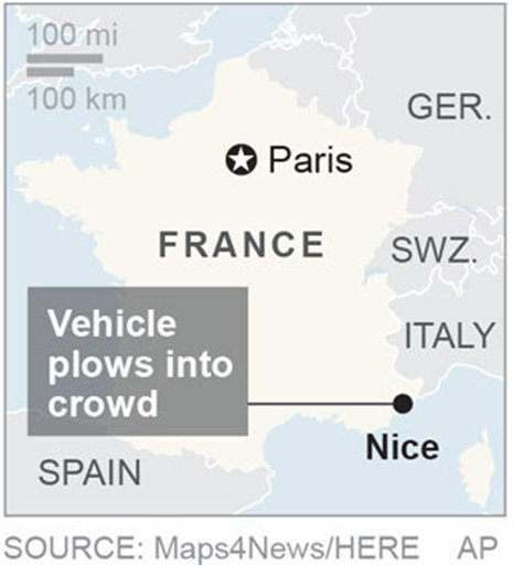 Map locates Nice, France, where a vehicle plowed into a crowd