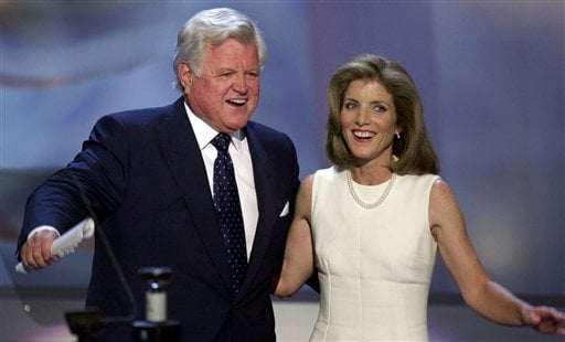 FILE -- In an Aug. 15, 2000 file photo Sen. Edward Kennedy, D-Mass., and Caroline Kennedy smile after speaking at the Democratic National Convention in the Staples Center in Los Angeles. (AP Photo/Ron Edmonds/file)
