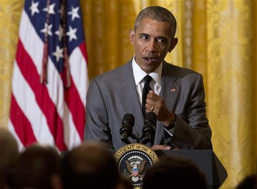President Barack Obama speaks about the attack in Nice, France, Friday, July 15, 2016, during a Diplomatic Corps Reception in the East Room of the White House in Washington.