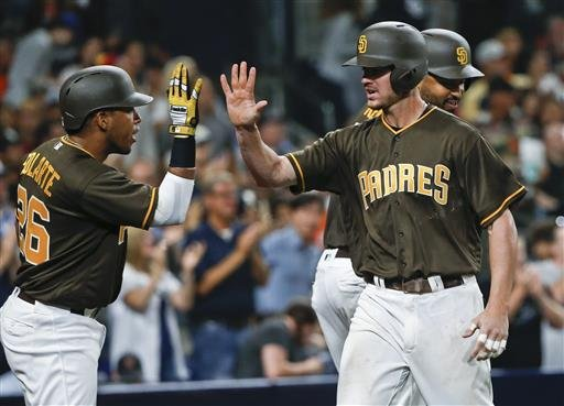 San Diego Padres' Wil Myers celebrates with Yangervis Solarte,left, after hitting a home run against the San Francisco Giants.