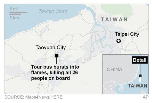 Map locates bus crash in Taiwain.