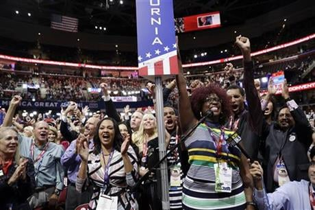 California delegates cheer during the second day session of the Republican National Convention in Cleveland, Tuesday, July 19, 2016. (AP Photo/John Locher)