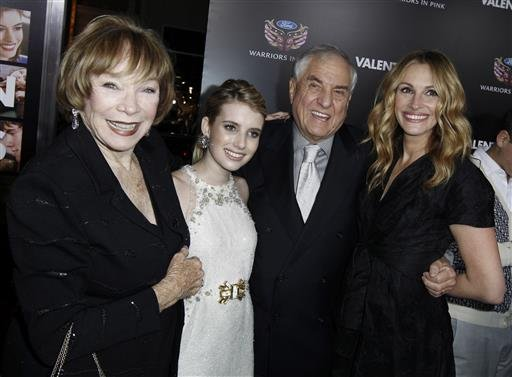 In this Feb. 8, 2010 file photo, Shirley MacLaine, from left, Emma Roberts, Garry Marshall, and Julia Roberts arrive at the premiere for Valentine's Day, in Los Angeles.